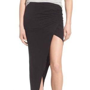 Pam & Gela Womens Ruched Asymmetrical Maxi Skirt L
